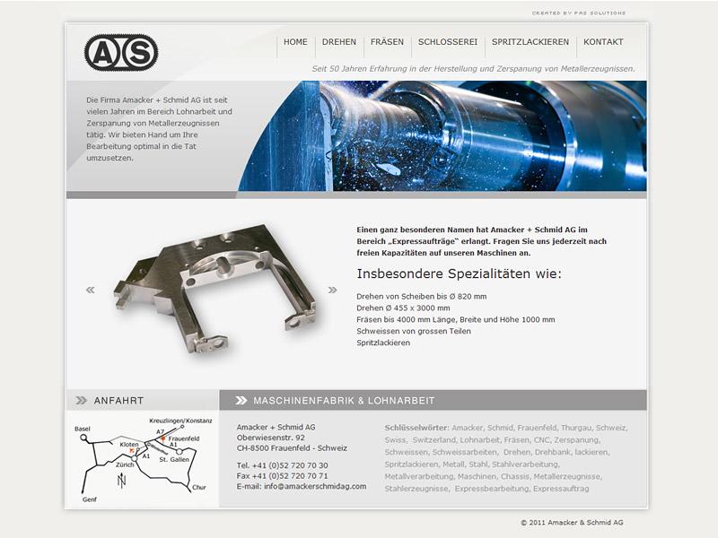 Website Amacker & Schmid AG Lohnarbeit